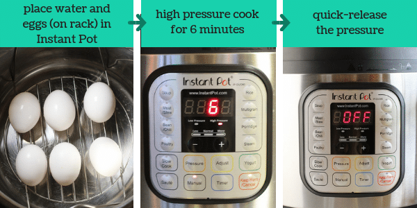 3 images showing steps to make instant pot hard-boiled eggs with text that says place water and eggs on rack in instant pot, high pressure cook for 6 minutes, quick-release the pressure