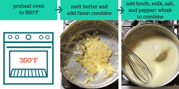 three photos showing steps to make chicken zucchini casserole with text that says preheat oven to 350°F, melt butter and add flour, combine, add broth, milk, salt and pepper, whisk to combine