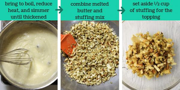 three photos showing steps to make chicken zucchini casserole with text that says bring to boil, reduce heat, and simmer until thickened, combine melted butter and stuffing mix, set aside 1/2 cup of stuffing for the topping