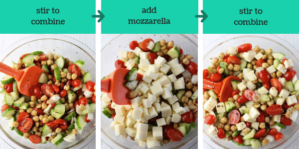 three photos of steps to make chickpea salad with text that says stir to combine, add mozzarella, and stir to combine