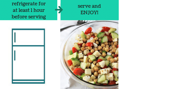 two photos of steps to make chickpea salad with text that says refrigerate at least 1 hour before serving, serve and enjoy