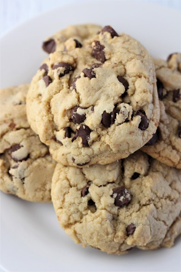 close up of a plate of chocolate chip cookies
