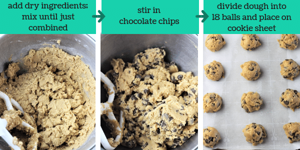 three photos showing steps to make chocolate chip cookies with text that says add dry ingredients, mix until just combined, stir in chocolate chips, divide dough into 18 balls and place on cookie sheet