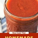taco sauce in a mason jar with a text overlay that says now cook this homemade taco sauce