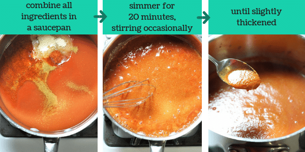 three photos showing steps to make homemade taco sauce with text that says combine all ingredients in a saucepan, simmer for 20 minutes, stirring occasionally, until slightly thickened