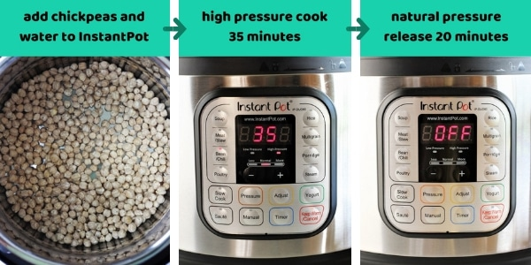 three images with the text add chickpeas and water to instant pot, high pressure cook 35 minutes, natural release pressure 20 minutes