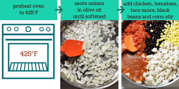 three photos showing steps to make mexican lasagna with text that says preheat oven to 425°F, saute onions in olive oil until softened, add chicken, tomatoes, taco sauce, black beans and corn, stir