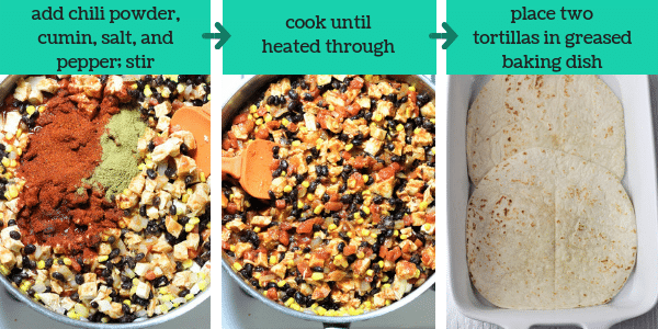 three photos showing steps to make mexican lasagna with the text add chili powder, cumin, salt, and pepper, stir, cook until heated through, place two tortillas in greased baking dish