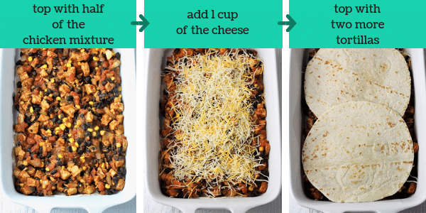 three photos with steps to make mexican lasagna with the text top with half of the chicken mixture, add 1 cup of the cheese, top with two more tortillas