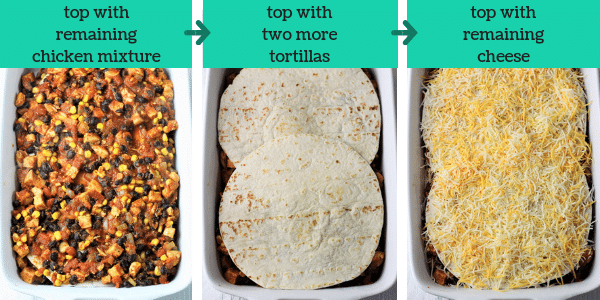 three photos showing the steps to make mexican lasagna with the text top with remaining chicken mixture, top with two more tortillas, top with remaining cheese