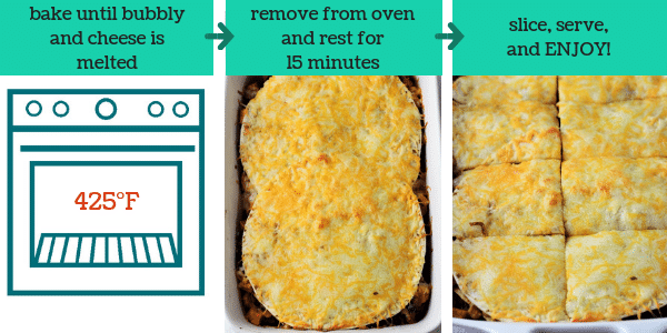 three photos showing the steps to make mexican lasagna with the text bake until bubbly and cheese is melted, remove from oven and rest for 15 minutes, slice, serve, and enjoy