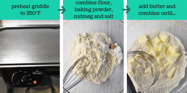 three photos showing steps to make welsh cookies with text that says preheat griddle to 350 degrees Fahrenheit, combine flour, baking powder, nutmeg, and salt, add butter and combine until...