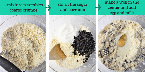 three photos showing steps to make welsh cookies with text that says ...mixture resembles coarse crumbs, stir in the sugar and currants, make a well in the center and add egg and milk