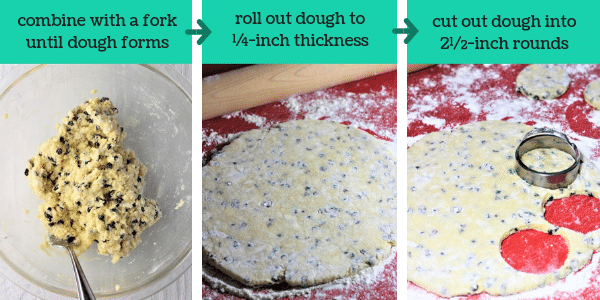 three photos showing steps to make welsh cookies with text that says combine with a for until dough forms, roll out dough to 1/4-inch thickness, cut out dough into 1/2-inch rounds