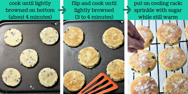 three photos showing steps to make welsh cookies with text that says cook until lightly browned on bottom about 4 minutes, flip and cook until lightly browned 3 to 4 minutes, put on cooling rack, sprinkle with sugar while still warm