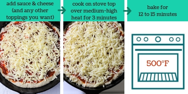 three photos showing steps to make pan pizza with text that says add sauce and cheese and any other toppings you want, cook on stove top over medium-high heat for 3 minutes, bake for 12 to 15 minutes