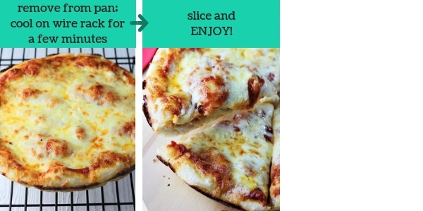 two photos showing steps to make pan pizza with text that says remove from pan, cool on wire rack for a few minutes, slice and enjoy