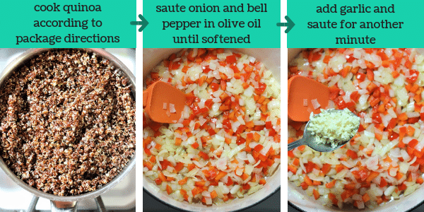 three photos showing steps to make quinoa veggie chili text that says cook quinoa according to package directions, saute onion and bell pepper in olive oil until softened, add garlic and saute for another minute