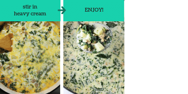 two photos showing steps to make sausage potato kale soup with text that says stir in heavy cream, enjoy