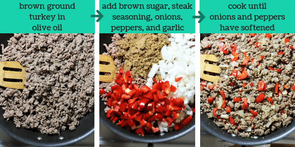 three photos showing steps to make turkey sloppy joes with text that says brown ground turkey in olive oil, add brown sugar, steak seasoning, onions, peppers, and garlic, cook until onions and peppers have softened