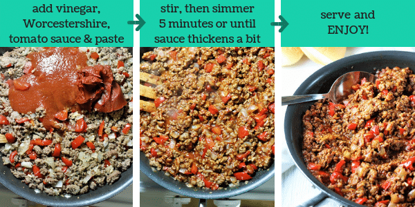 three photos showing steps to make turkey sloppy joes with text that says add vinegar, Worcestershire, tomato sauce and paste, stir, then simmer 5 minutes or until sauce thickens a bit, serve and enjoy