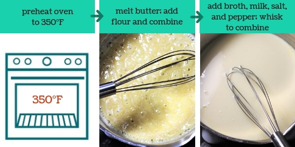 three images showing steps to make chicken noodle casserole with text that says preheat oven to 350°F, melt butter, add flour and combine, add broth, milk, salt and pepper, whisk to combine
