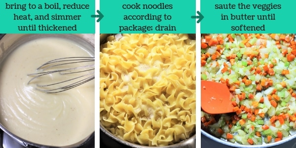three images showing steps to make chicken noodle casserole with text that says bring to a boil, reduce heat and simmer until thickened, cook noodles according to package, drain, saute the veggies in butter until softened