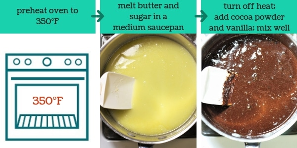 three images showing steps to make easy homemade cocoa brownies