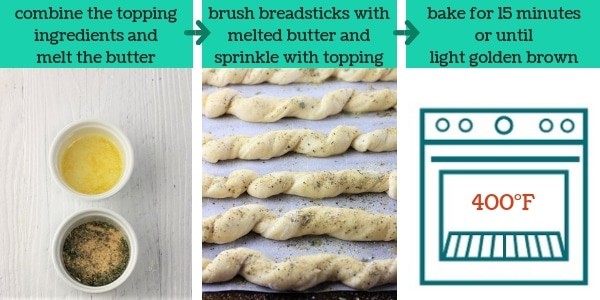 three images showing steps to make homemade garlic herb breadsticks