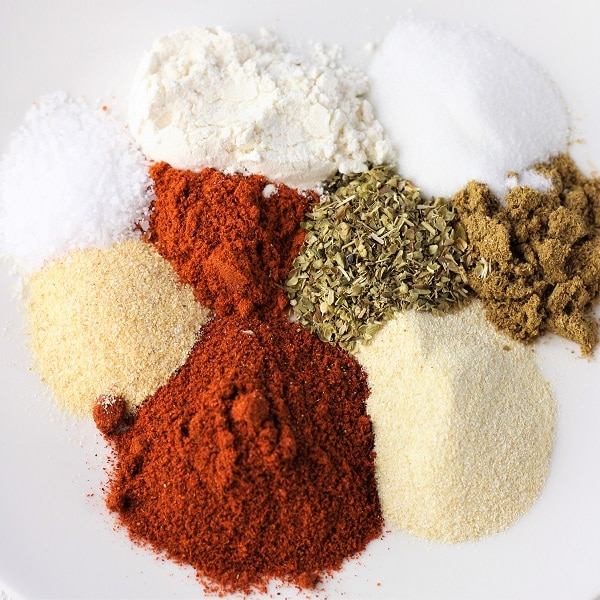 plate of spices used to make homemade taco seasoning