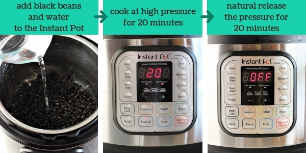 three images showing steps to make instant pot black beans with text that says add black beans and water to the instant pot, cook at high pressure for 20 minutes, natural release the pressure for 20 minutes