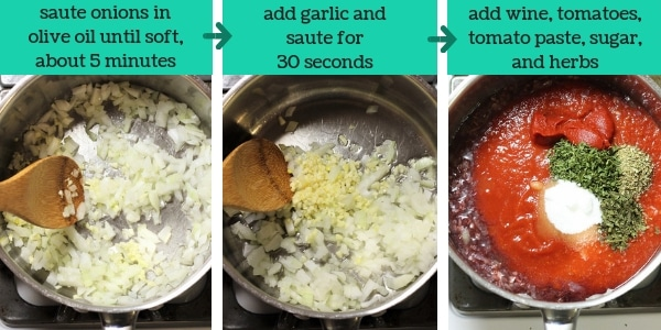 three images showing steps to make quick and easy homemade pasta sauce