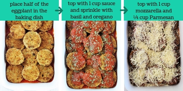three images showing steps to make baked eggplant parmesan