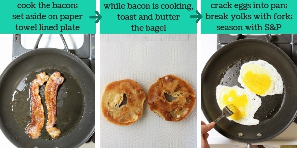 three images showing steps to make a breakfast bagel sandwich