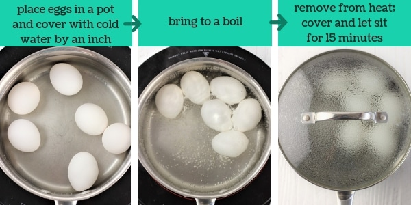 three images showing steps to make Cajun spiced deviled eggs