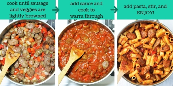 three images showing steps to make sausage and peppers pasta