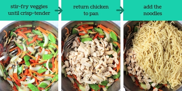 three images showing steps to make chicken and veggie lo mein