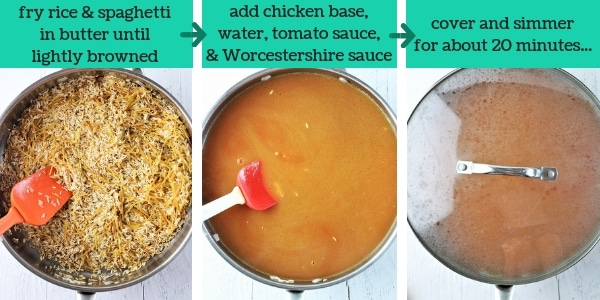 three images showing steps to make chicken fried rice and roni