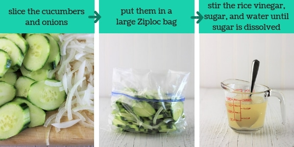 three images showing steps to make cucumber and onion salad