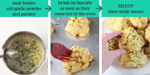 three images showing steps to make easy cheesy garlic biscuits
