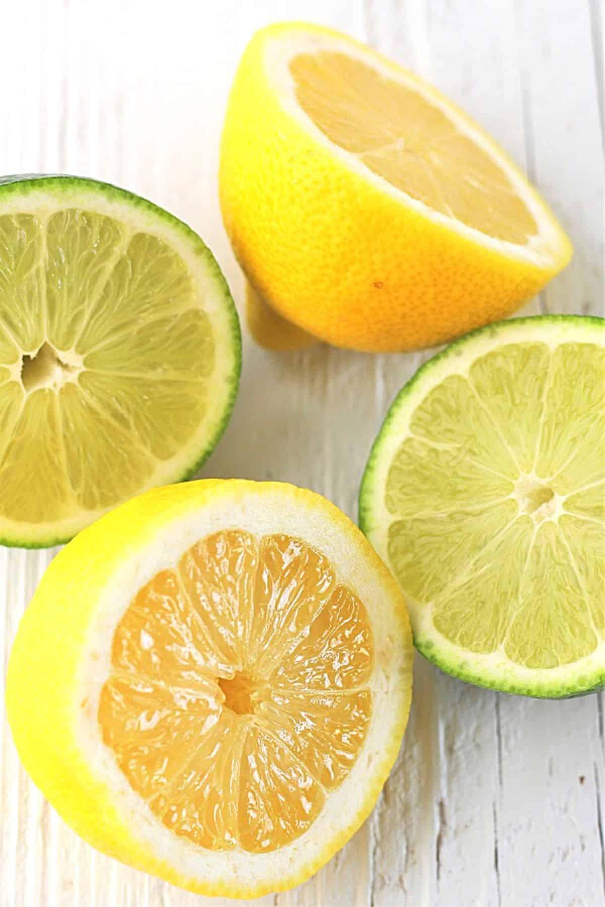 halved lemons and limes