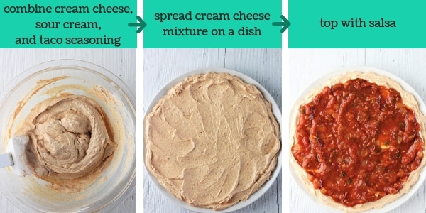three images showing steps to make easy taco dip