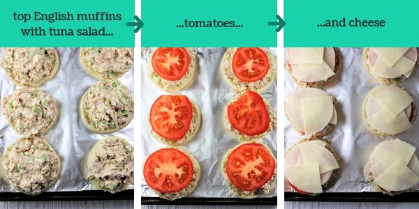three images showing steps to make English muffin tuna melts