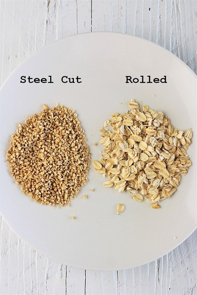 plate with dry steel cut oats and dry rolled oats