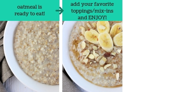 two images showing steps to make instant pot steel cut oats