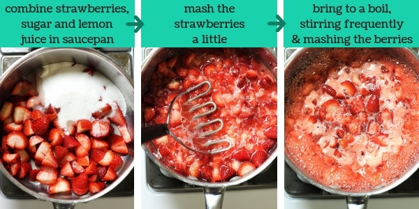 three images showing the steps to make strawberry refrigerator jam