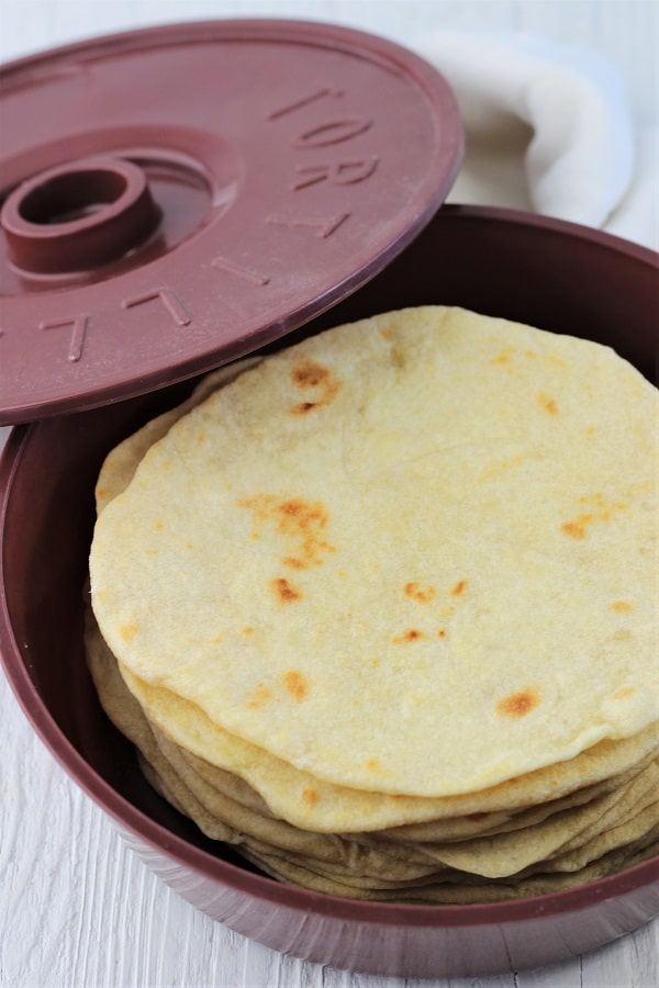 stack of tortillas in a tortilla warmer