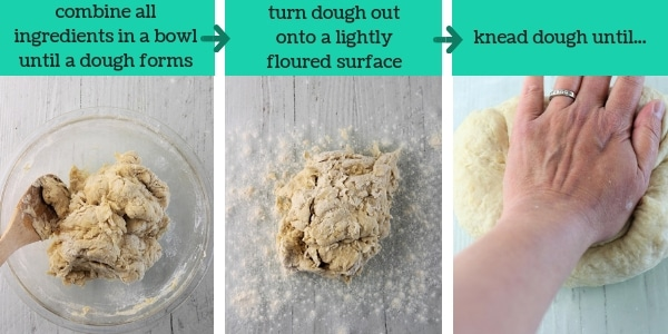 three images showing steps to make easy homemade flour tortillas