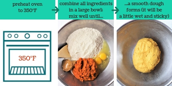 three images showing steps to make homemade pumpkin peanut butter dog biscuits
