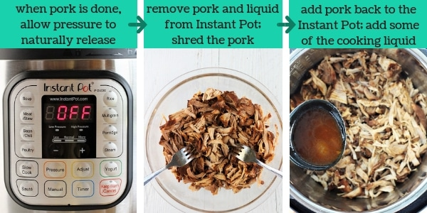three images showing steps to make instant pot bbq pulled pork tacos